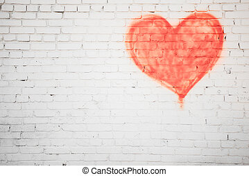 red heart - white brick wall with red heart background