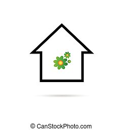 house with flower color vector