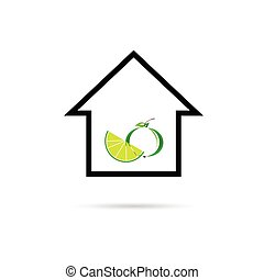 house with fruit color vector
