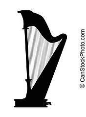 Harp - Silhouette of a traditional concert size harp
