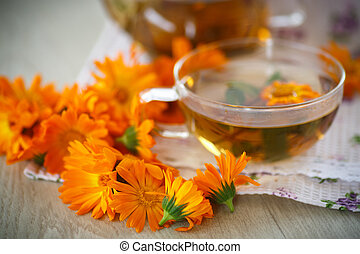 Herbal tea with marigold flowers