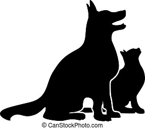 Dog and Cat Silhouette - Simple happy dog and cat...