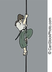 character climbing a rope - Creative design of character...