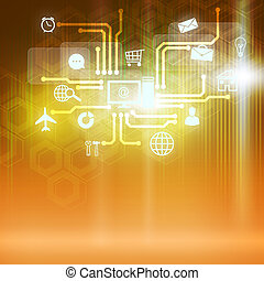 Global technologies - Conceptual color background image with...