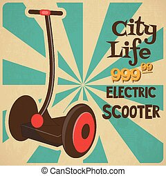 segway - Segway - Retro Poster with Neon Sign - Advertising...
