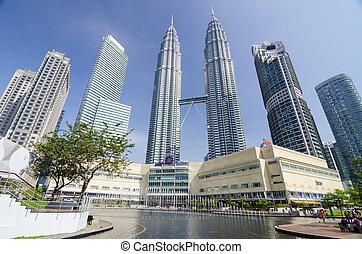 KUALA LUMPUR, MALAYSIA -MAY 11: Petronas Twin Towers at day...