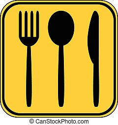 Fork, spoon and knife button.