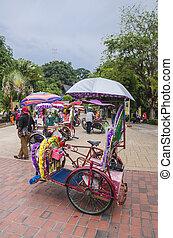 MALACCA, MALAYSIA - MAY 11: Decorative trishaw at Malacca...