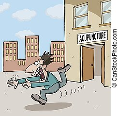 Cartoon about acupuncture - Conceptual cartoon about a man...