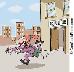 Cartoon about acupuncture - Conceptual cartoon about a woman...