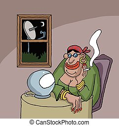 Cartoon about a fortune teller looking at her ball