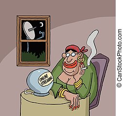 Cartoon about a fortune teller watching something online on...