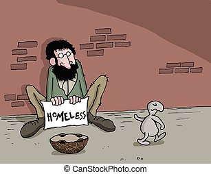 Cartoon about animal and homeless - Conceptual cartoon about...