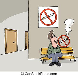 Conceptual cartoon about smoking