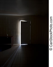 Inside a dark room with half-opened doors