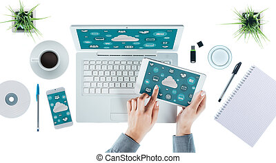 Cloud computing and multiplatform concept, user interface on...