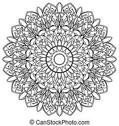 ?attern for embroidery - Vector, contour, black mandala....