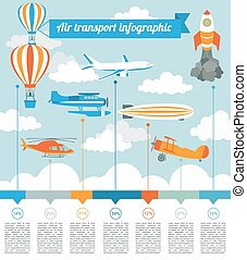 Air transport infographics elements