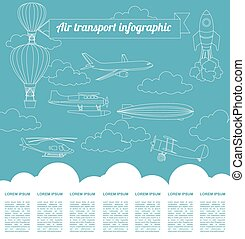 Air transport infographics elements. Retro styled...