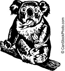 koala munching leaves, surprised ko - hand drawn, vector,...