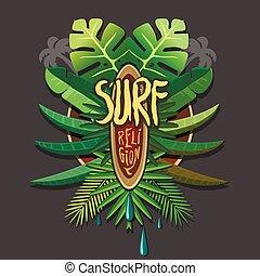 Summer artwork surf rerigion - Vector surfing print for...