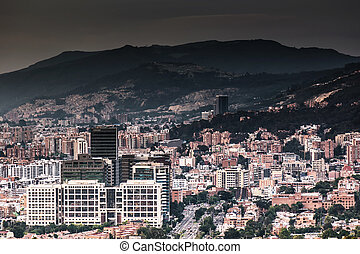 Bogota dark - Panoramic picture of Bogota city showing a...