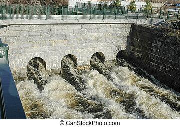 Rushing water - Water rushes through culverts in Blackstone...