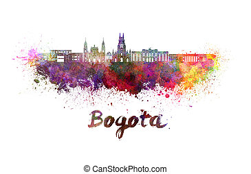 Bogota v2 skyline in watercolor splatters with clipping path