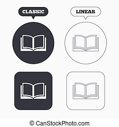 Book sign icon. Open book symbol. Classic and line web...