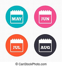 Calendar. May, June, July and August.