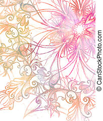 pink ornament Mandala and fractal color effect - pink...