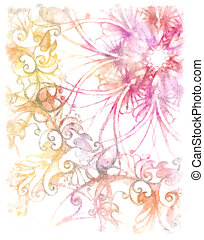 Aquarel Ornamental mandala Yellow and pink color background
