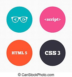 Programmer coder glasses HTML markup language - Circle...