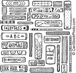Books Collection Monochrome Inky Outline Illustration - Hand...