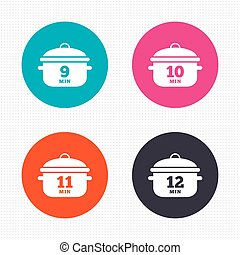 Cooking pan icons Boil nine, twelve minutes - Circle buttons...