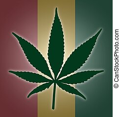 Cannabis Leaf Flag - A colourful cannabis leaf on a...