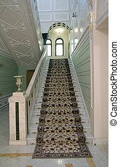 escalera, dentro, lujo, apartamentos