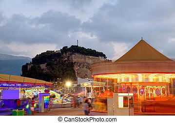 Denia in Alicante sunset with fairground