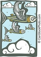 Flock of Flying Fish - Woodcut style image of a flock of...