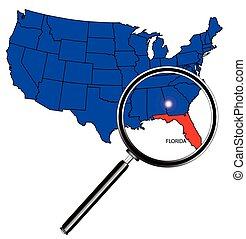 Florida state outline set into a map of The United States of...