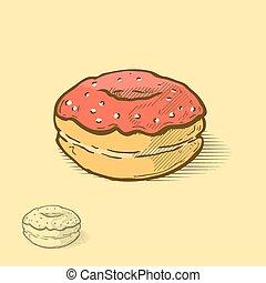 donut - Donut, hand drawn illustration