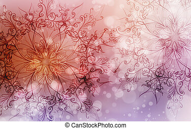 Flower Mandala on a pink and violet abstract background and...