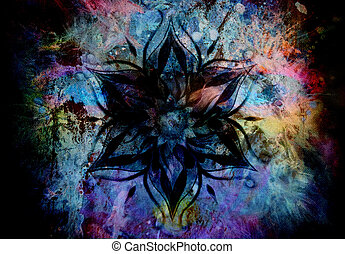 Flower Mandala and color abstract background - Flower...
