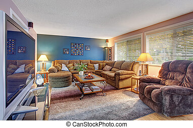 Modernized living room with lots of colors.