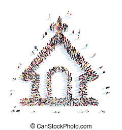 people in the shape of church. - A large group of people in...