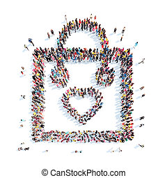 people in the shape of a package with heart. - A large group...