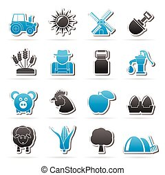 Agriculture and farming icons - vector icon set - vector...