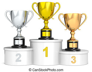 Trophy podium. - White podium with 3 Trophy cups.