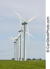 Modern Windmill turning in Friesland - Modern windmills at...