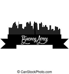 Skylines - Isolated silhouette of a skyline of Buenos Aires...